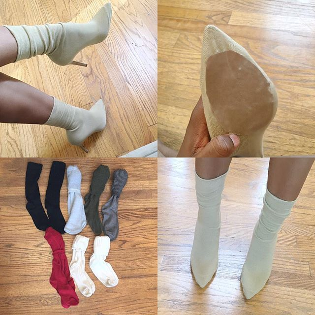 DIY Yeezy Sock Heels  Frequently asked questions:  Where can I get these socks: I purchased mine from Charlotte Russe, h&m, marshalls, and forever21. I recommend men's dress socks and women's thigh high socks.  What did you put at the bottom? I used sandpaper sheets. You can use any non slip material though.  How long does it last? They can last from one day to a couple of weeks depending on what material you apply to the bottom of your socks.  How can I be featured on your page? Just use…