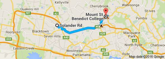 Map from Solander Rd, Kings Langley NSW 2147 to Mount St Benedict College, 449C Pennant Hills Road, Pennant Hills NSW 2120