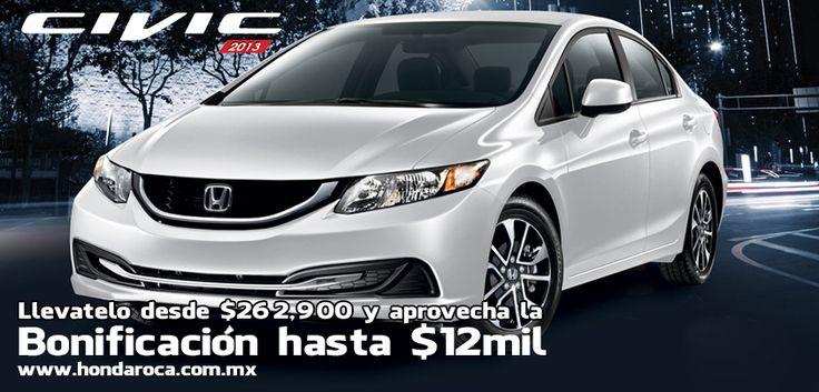 No dejes pasar esta oportunidad de adquirir tu #Honda #Civic 2013 desde $202,900 pesos y aprovecha nuestro bono de hasta $20,000. Te esperamos en tu agencia Honda ROCA. #ThePowerOfDreams.