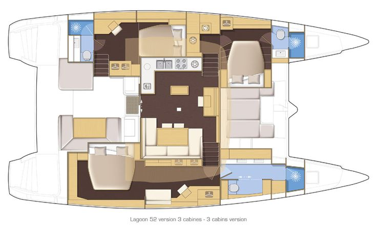 Lagoon 52   3 cabins version Luxury and space… A hull entirely devoted to the owner's cabin, 2 other large cabins and a spacious saloon…