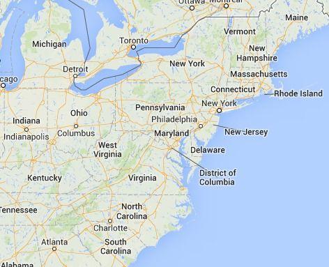 Google Maps East Coast Usa MAP - Google maps virginia usa