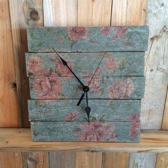 Shabby Chic Wall Clock - Unique Clock -  Floral Clock - Rustic Wood Clock - Rustic Home Decor - Decorative Pallet Clock - Shabby Chic Decor