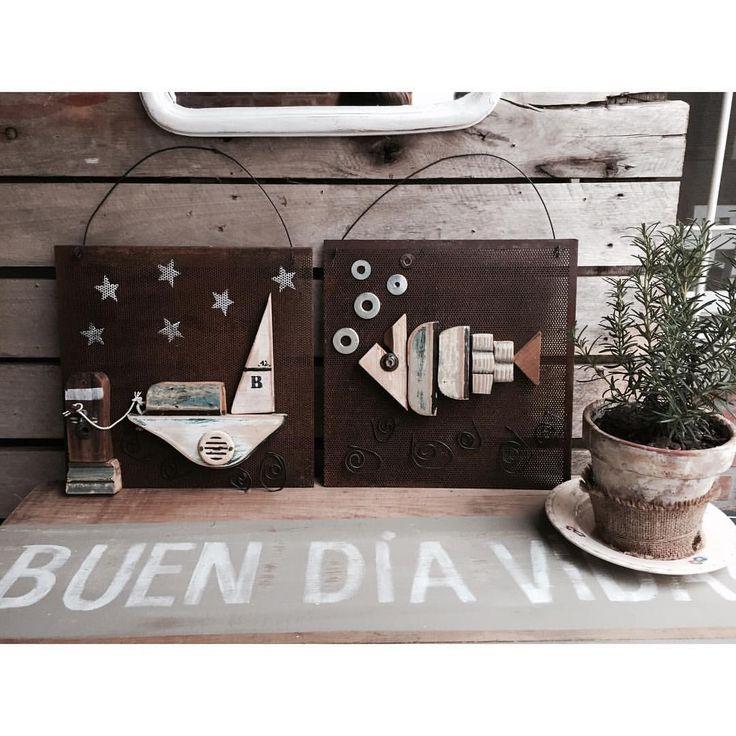 https://www.pinterest.com/nadasepierde/carteles-pizarrones-y-cuadritos/ Chapa óxido + maderitas recicladas