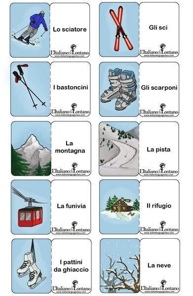 Le flashcard di questo mese sono dedicate alle vacanze invernali! In Italia, nei mesi di gennaio e febbraio molti fanno la settimana
