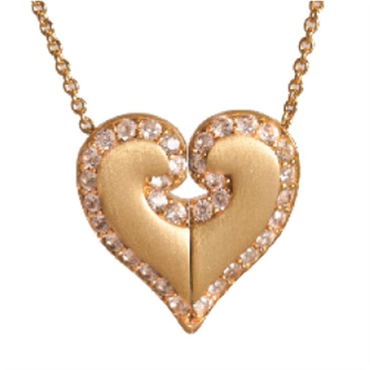 PETRA AZAR UNITED HEART GOLD PLATED STERLING SILVER PENDANT WITH WHITE SAPPHIRE PAVE UH201GPS