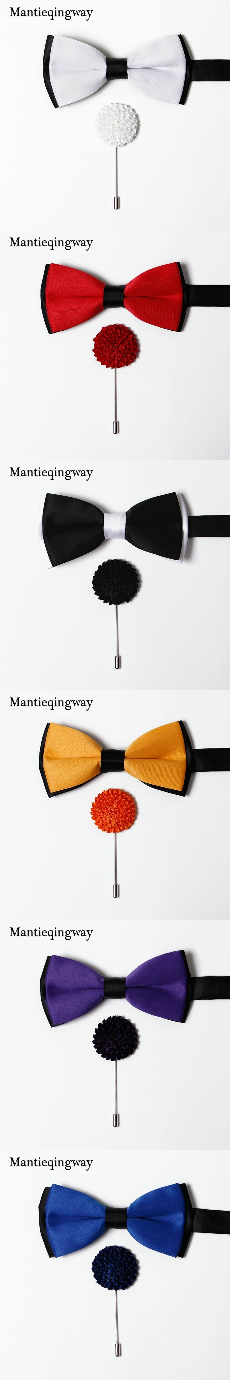 Mantieqingway New Brand 6cm Polyester Bowtie&Brooch Pins Set For Men Wedding Bow Tie Suit Fashion Neckwear Brooches Bowknot Set