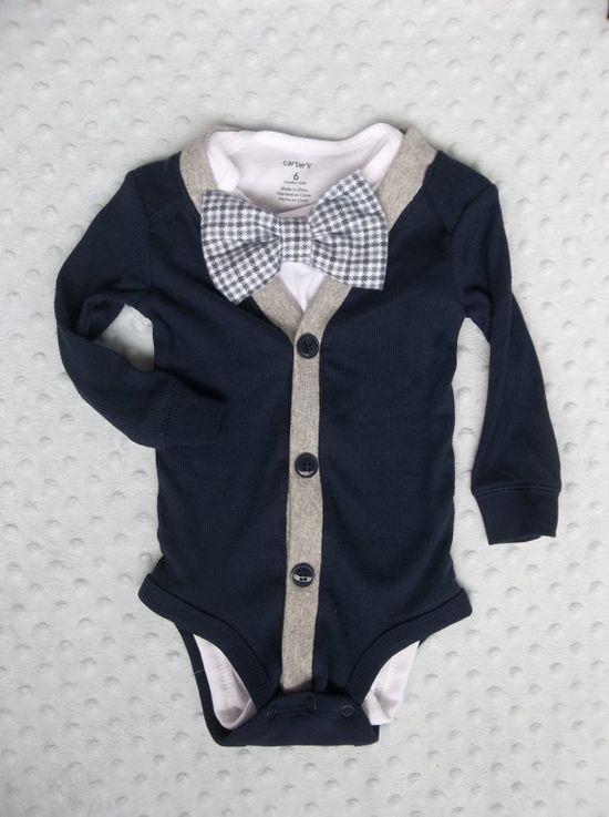 Baby Boy Cardigan Bowtie Onesie for a Preppy Baby Boy via | http://baby-outfit.hana.lemoncoin.org