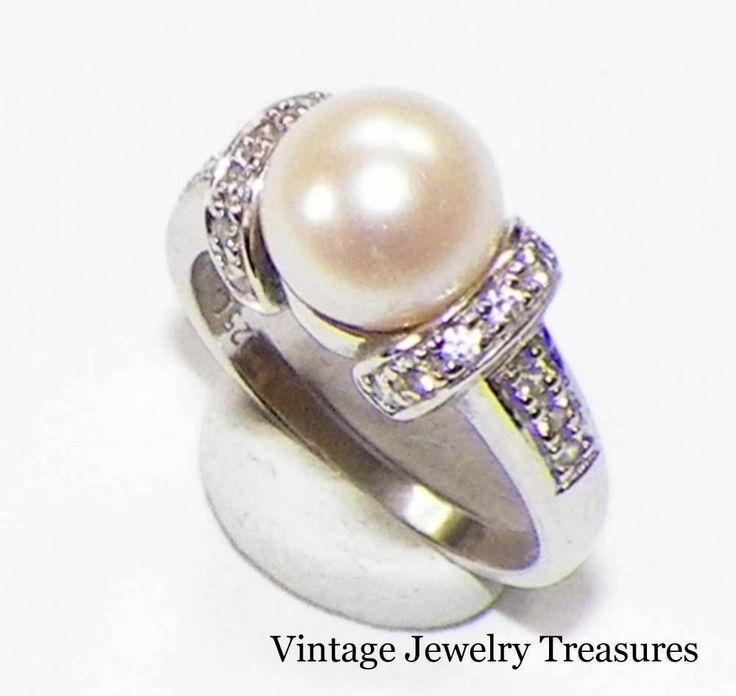 qvc epiphany platinum clad sterling diamonique white pearl ring 7 new qvc - Qvc Wedding Rings