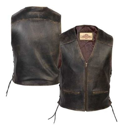Milwaukee Motorcycle Clothing Co. Men's Crazy Horse Brown Leather Vest | 120-561 | J&P Cycles