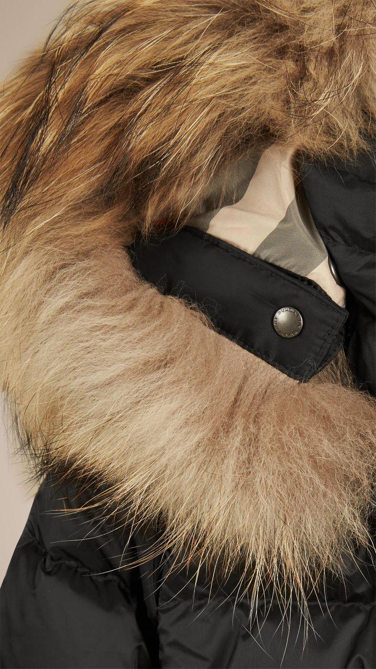 Doudoune courte avec bordure en fourrure Noir | Burberry