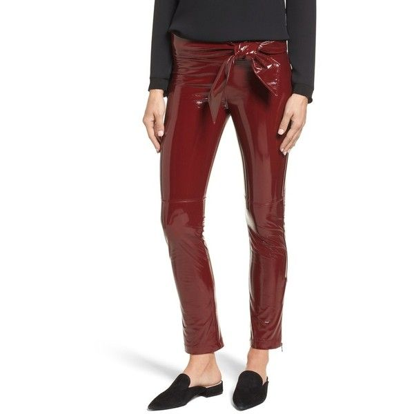 Women's David Lerner Tie Waist Vinyl Leggings (€195) ❤ liked on Polyvore featuring pants, leggings, merlot, vinyl leggings, legging pants, david lerner, red trousers and david lerner pants