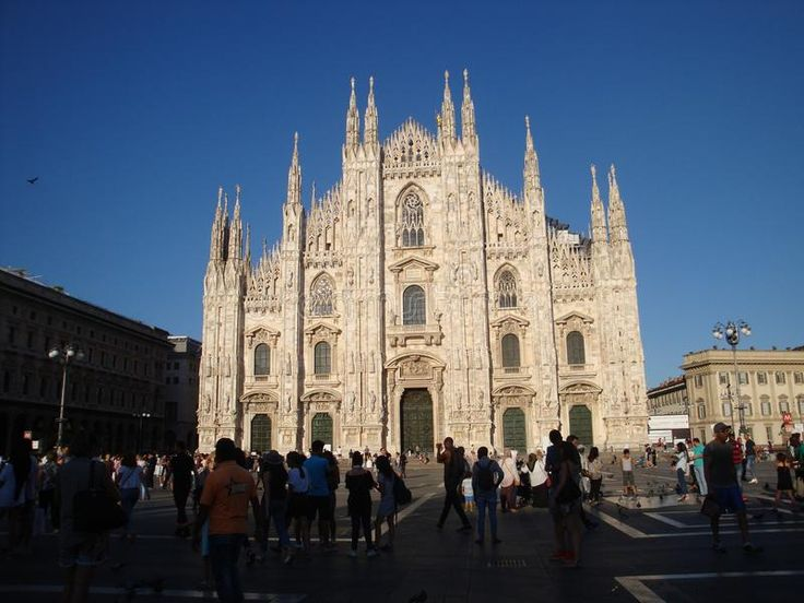 Photo about Duomo`s facade on a sunny day - July 2017 - Milan - Italy. Image of italy, detail, milan - 111277851