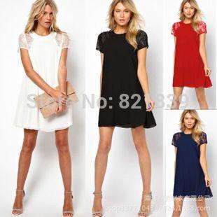 Pas cher 2014 top nouveaux mode qualité nouveauté Slim femmes robes avec dentelle Patchwork robe taille naturelle retour bouton glissière , Plus la taille, Acheter  Robes de qualité directement des fournisseurs de Chine:
