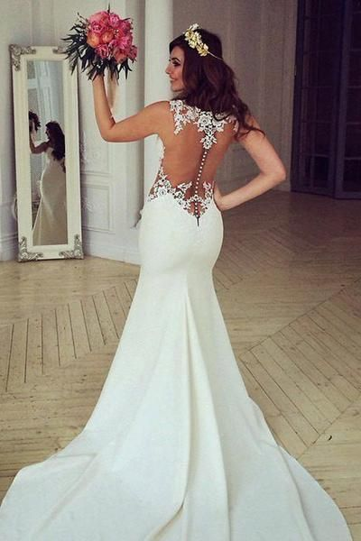 Stunning Mermaid Sleeveless Lace Wedding Dress Zipper Button-Pgmdress