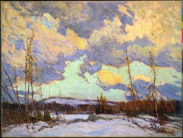 """March Evening, Northland,"" J.E.H. MacDonald, 1914, oil on canvas, 30.2 x 40.2"", National Gallery of Canada."