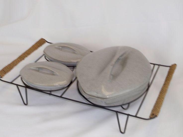 BEN SEIBEL ROSEVILLE RAYMOR Beach Gray Casserole Set in Metal Wicker Tray,  MCM