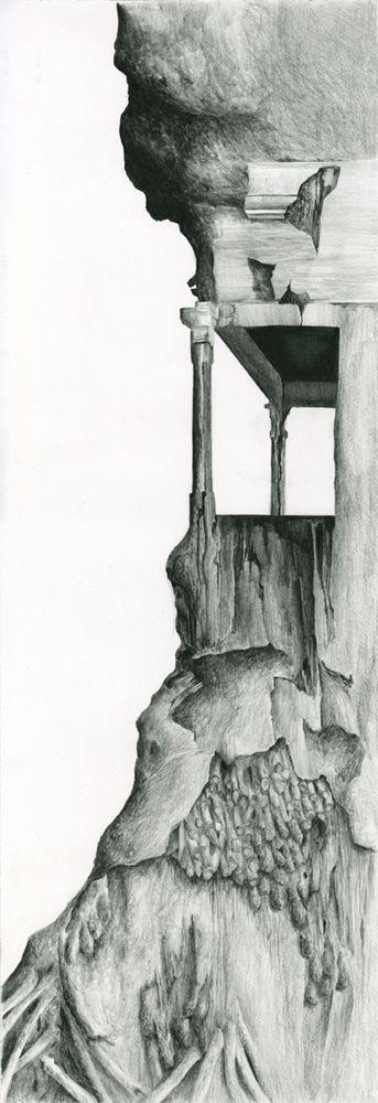 Eleanor Bedlow, Facade, inktense pencil on paper, 26 x 76.5 cm, 2013