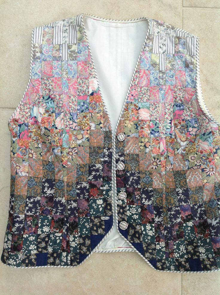 Liberty Bargello pieced waistcoat by Debbie Irving