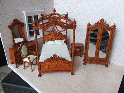Details about  Walnut Dollhouse Miniature Versailles Bedroom furniture set Bed Wardrobe