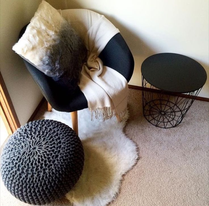 OBSESSED with the knitted ottoman, oh and the new occasional chair