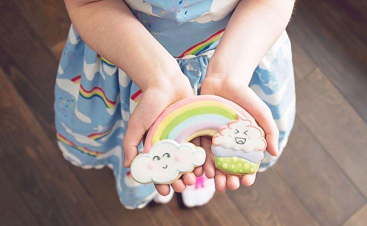 Rainbow Cookie from a Trolls Inspired Birthday Party #trolls #trollscookies #sugarcookies