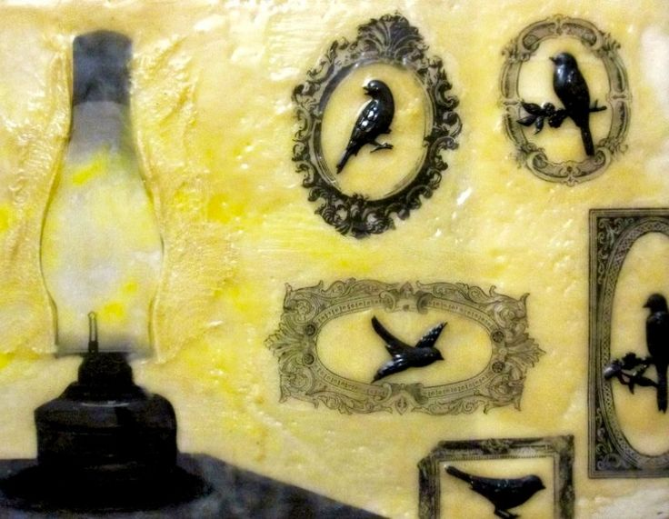 Artful Adventures: Light Ran across one of my  previous encaustic pieces and it incorporates an image of one of our 'lights! at the farm