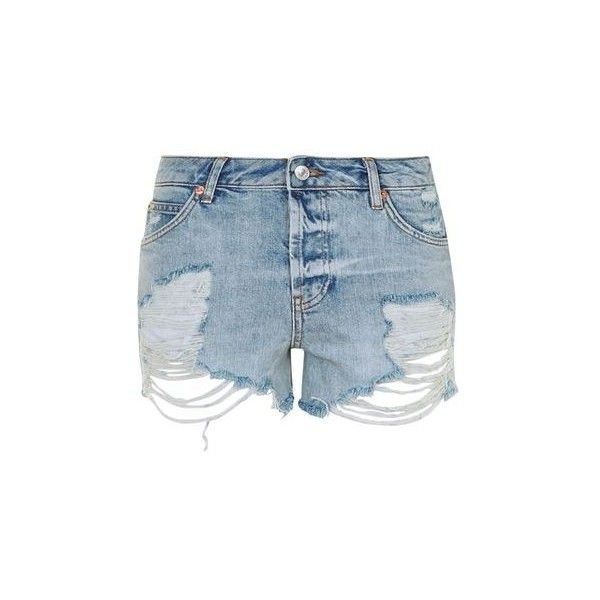 TopShop Moto Super Rip Ashley Short (£35) ❤ liked on Polyvore featuring shorts, mid stone, topshop shorts, ripped short shorts, torn shorts, cut off shorts and mid rise shorts