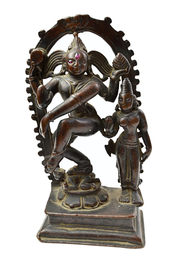 A bronze figure of Siva Nataraja, Southern India, probably 18th century, standing dancing on Apas