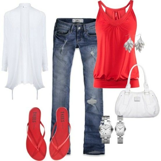 I am LOVING the way Pinterest is helping me put together what's in the closet! Here, I just need the red sandals and a watch :)