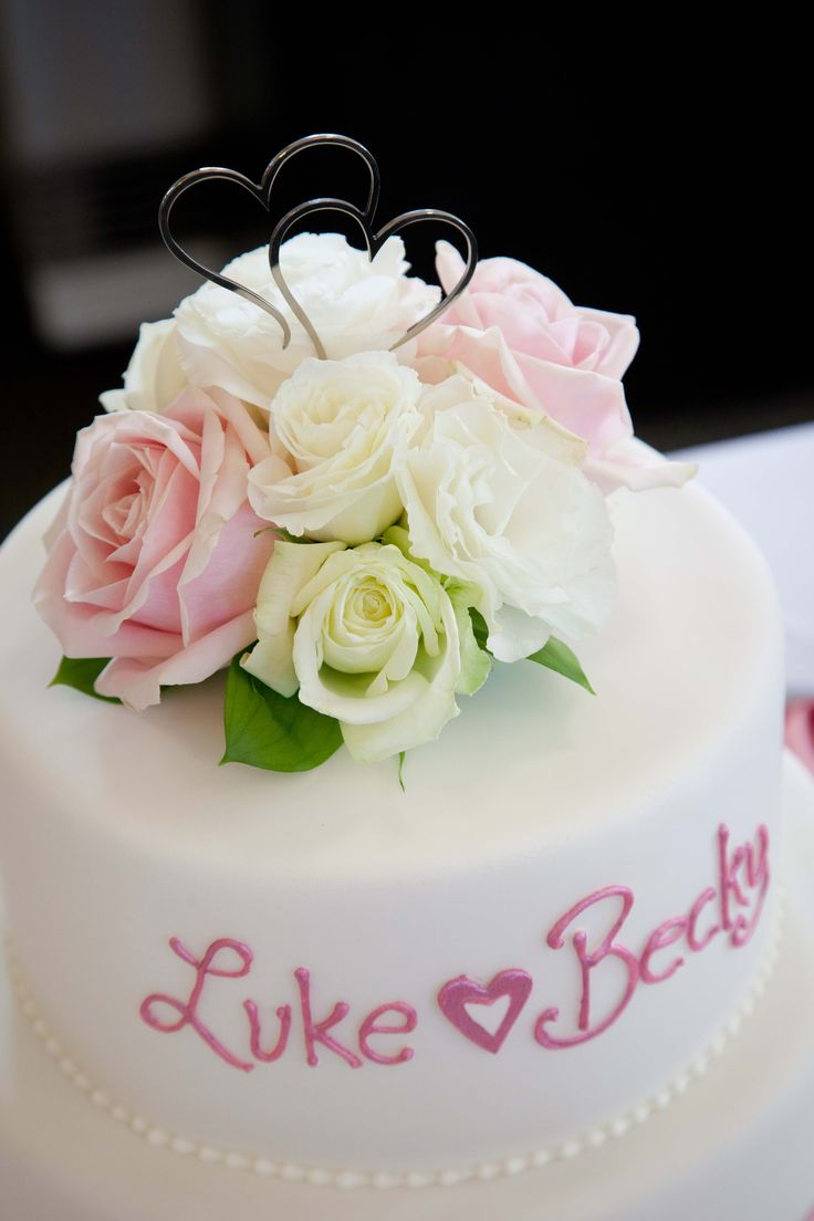 Pink and white rose cake topper - Romantic wedding flowers made by Amy's Flowers