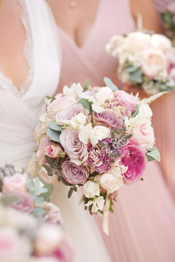 Romantic, antique, dusky pink and green bouquet - possibly a bit washed out and fractionally small