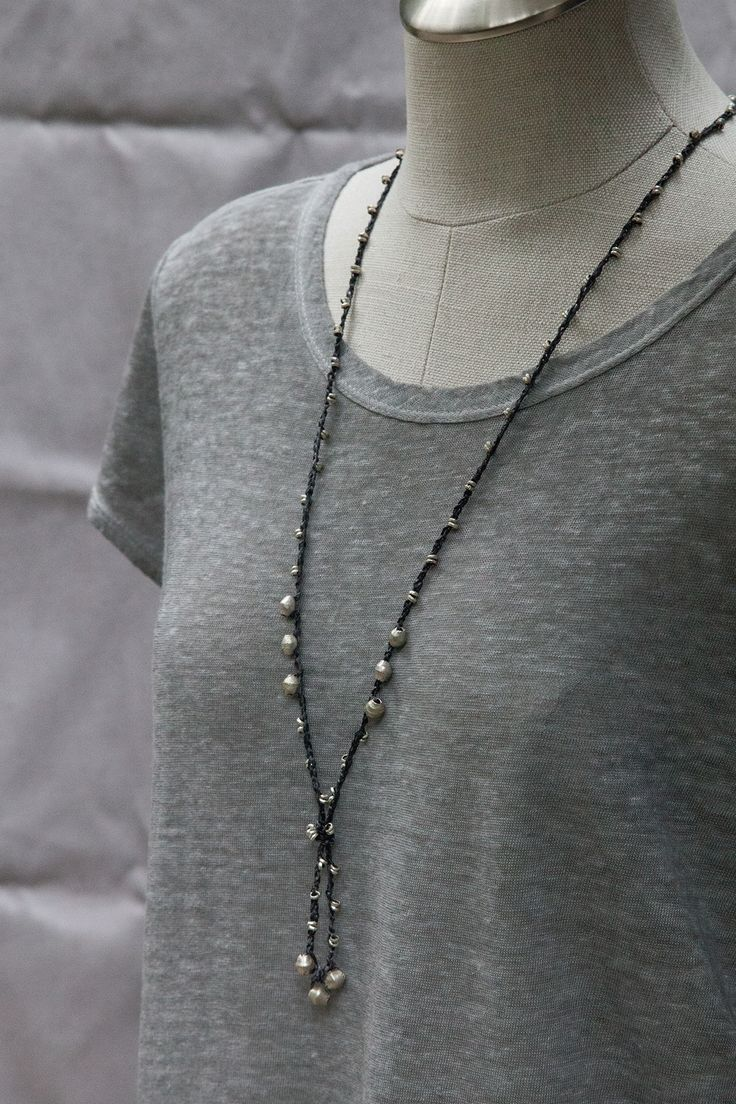Charcoal Black Silk Crochet Necklace with Ethiopian Silver Beads • Designed by Kelli Ronci