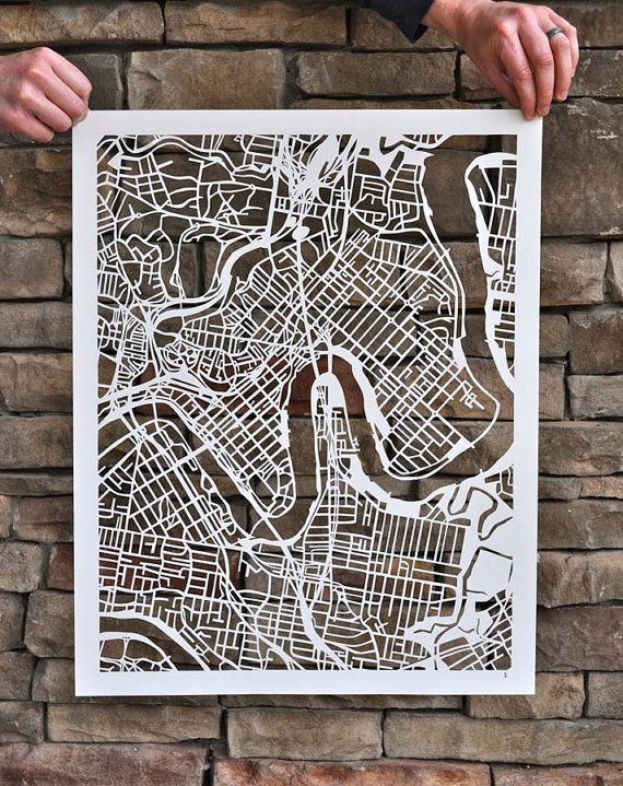 This is a paper cut of Brisbane my home city and I really love the art of paper cutting. I think that this is a really beautiful way of seeing either your favourite city or your own home city.