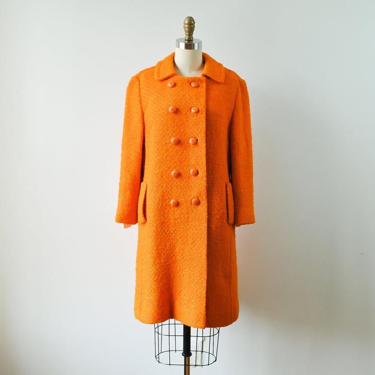 Womens Orange Pea Coat | Fashion Women's Coat 2017