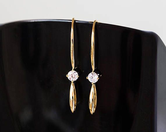 2862 Gold ear wires 37 mm Earring hooks Cubic zirconia