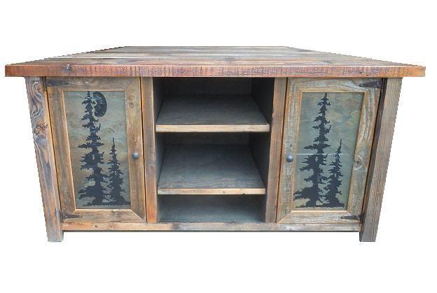 Moonlit Forest Barnwood Tile Corner Unit Tv Stand Rustic