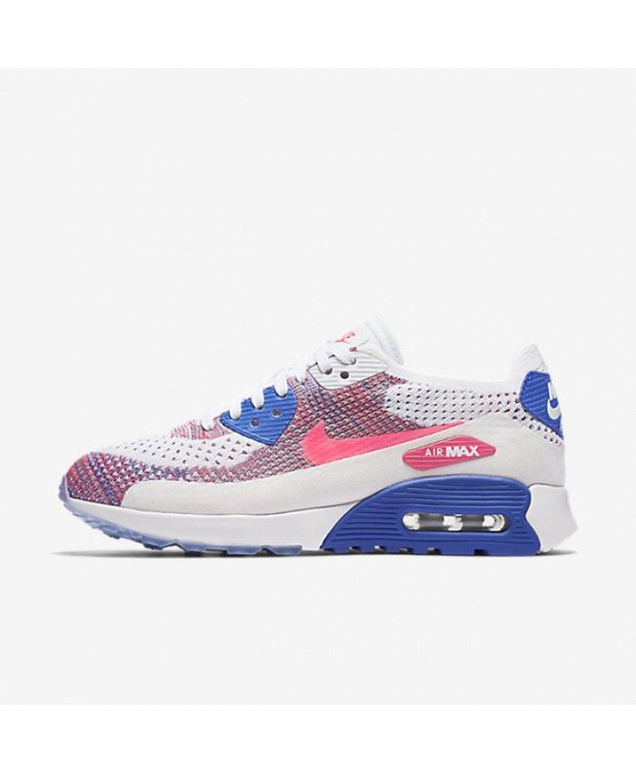 143883ed1a9a6a Nike Air Max 90 Ultra 2.0 Flyknit White Medium Blue Bright Melon Racer Pink  881109 103 Outlet UK