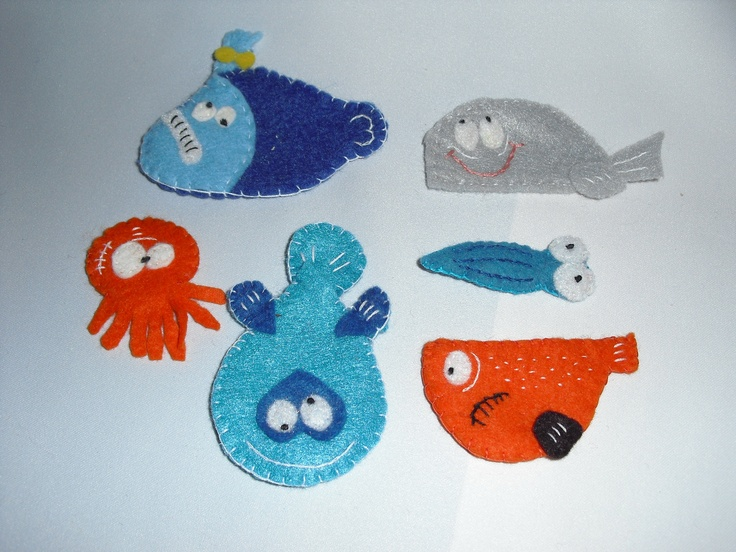 Funny sea creature pins/magnets