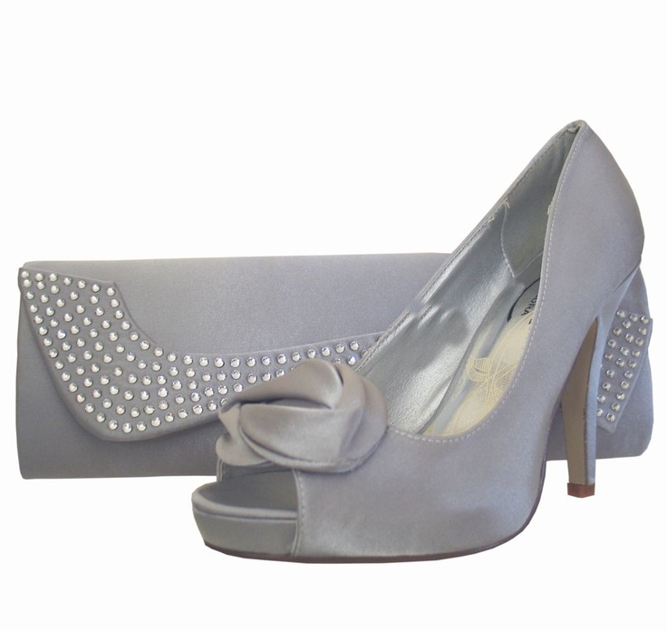 Ladies Silver Satin Peep Toe Shoe U0026 Matching Clutch Bag. Perfect For Weddings And Special ...