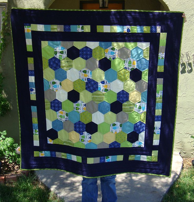 Masculine hexi quilt idea, would look beautiful in grey, silver, white, and light blues