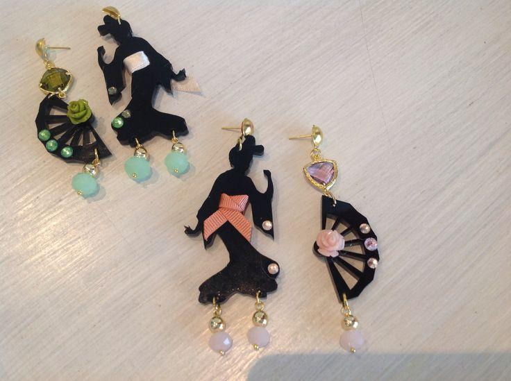 Orecchini Geisha e Ventaglio. Kit  fai da te disponibili su www.gioieecolori.it #geishabijoux #samurai