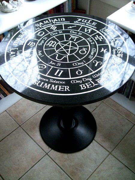 "24"" round Black Italian Marble Altar Table engraved with the Pagan Wheel of the Year Calendar! Includes Astrology correspondences, pentacle and season sigils."
