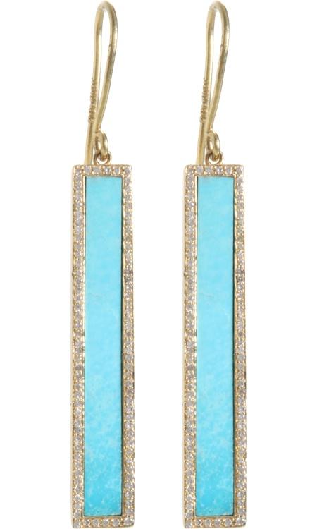 Jennifer Meyer Turquoise & Diamond Bar Earrings