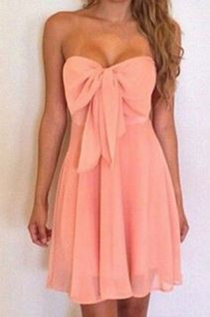 Gorgeous Coral Pink Sexy Strapless  Summer Dress