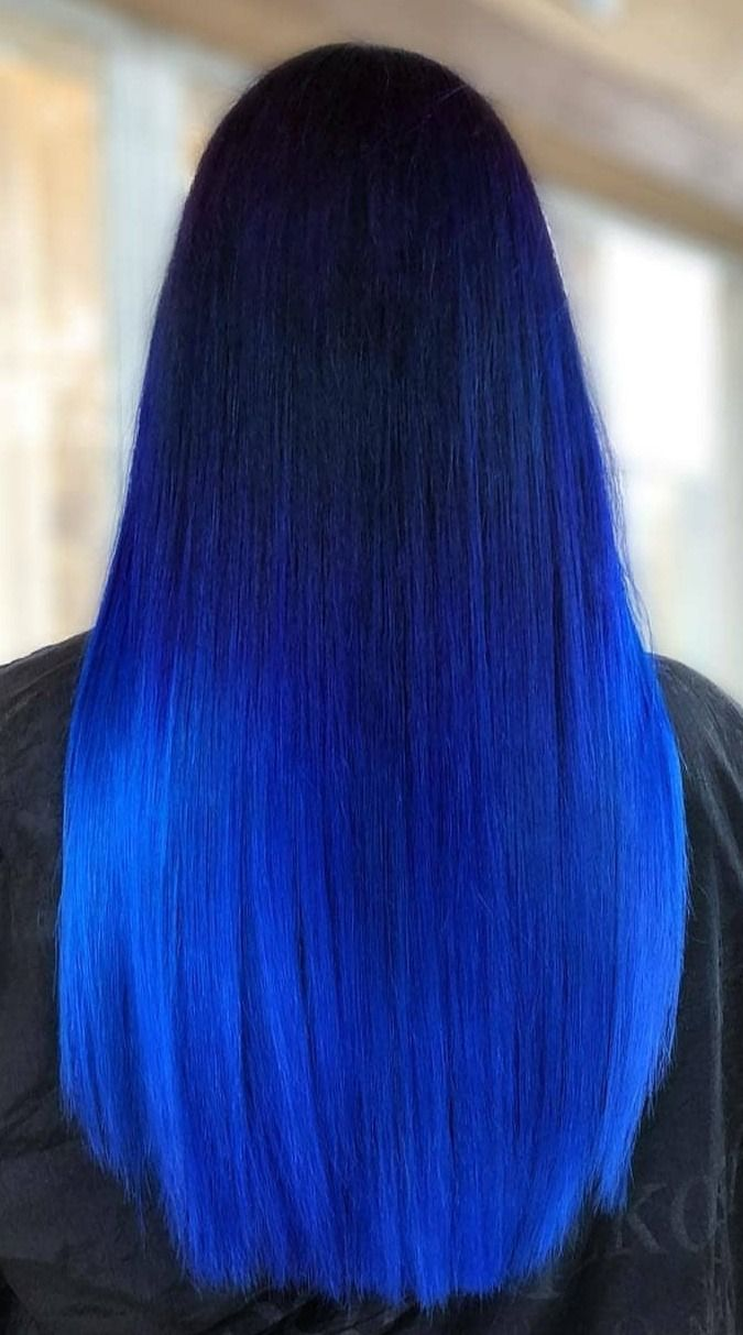 Ombre Blue Hair Straight Pretty Hair Color Hair Styles Cool