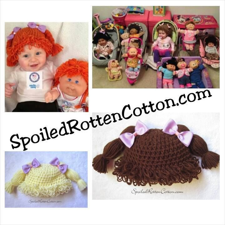 Cabbage Patch Kid Crochet Hat Wig With Pigtail Braids and Purple Bows on Top CPK #SpoiledRottenCotton