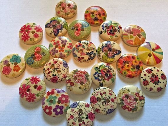 23 Pretty Wood Buttons : Crafts Scrapbooking Sewing  Unique