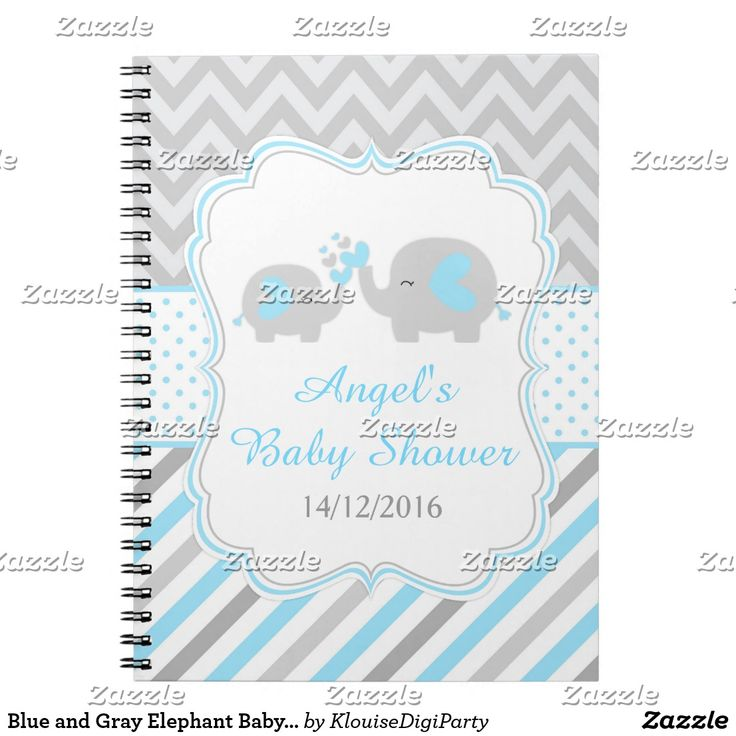 Blue and Gray Elephant Baby Shower Planner Spiral Notebook