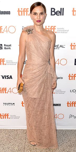 Natalie Portman in a pink lace Lanvin dress at the Toronto Film Festival