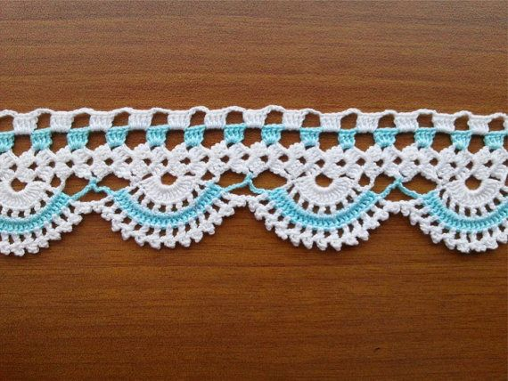 Towel Edge Teal/Mint and White Lace Edge by CuteTraditonalThings, $20.00